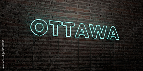 OTTAWA -Realistic Neon Sign on Brick Wall background - 3D rendered royalty free stock image. Can be used for online banner ads and direct mailers..