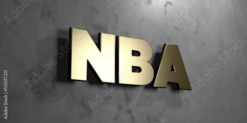 Photo  Nba - Gold sign mounted on glossy marble wall  - 3D rendered royalty free stock illustration