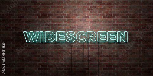 Fotografie, Obraz  WIDESCREEN - fluorescent Neon tube Sign on brickwork - Front view - 3D rendered royalty free stock picture