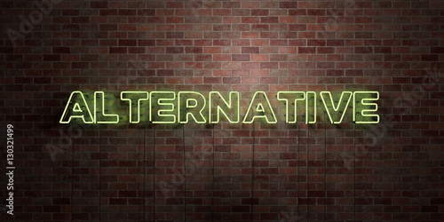 Fotografie, Obraz  ALTERNATIVE - fluorescent Neon tube Sign on brickwork - Front view - 3D rendered royalty free stock picture
