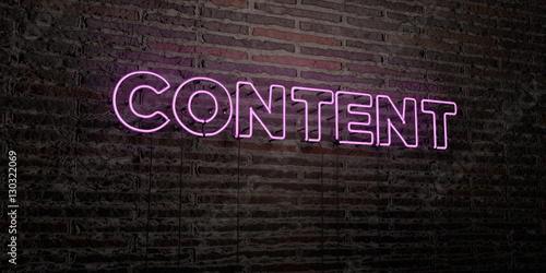 CONTENT -Realistic Neon Sign on Brick Wall background - 3D rendered royalty free stock image Slika na platnu