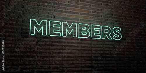 Fotografía  MEMBERS -Realistic Neon Sign on Brick Wall background - 3D rendered royalty free stock image
