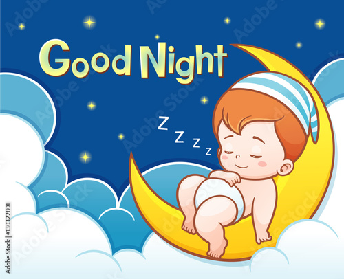 Vector Illustration Of Cartoon Cute Baby Sleeping On The Moon With