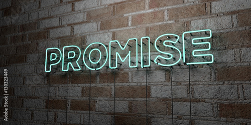 Valokuva PROMISE - Glowing Neon Sign on stonework wall - 3D rendered royalty free stock illustration