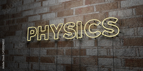 Fotografie, Obraz  PHYSICS - Glowing Neon Sign on stonework wall - 3D rendered royalty free stock illustration