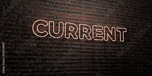 Photo  CURRENT -Realistic Neon Sign on Brick Wall background - 3D rendered royalty free stock image