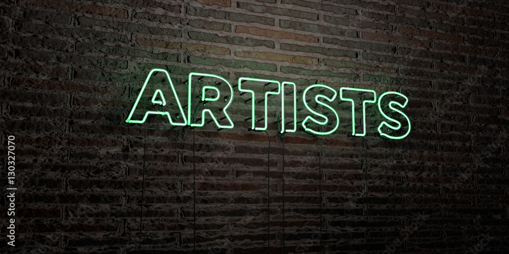 Fototapety, obrazy: ARTISTS -Realistic Neon Sign on Brick Wall background - 3D rendered royalty free stock image. Can be used for online banner ads and direct mailers..
