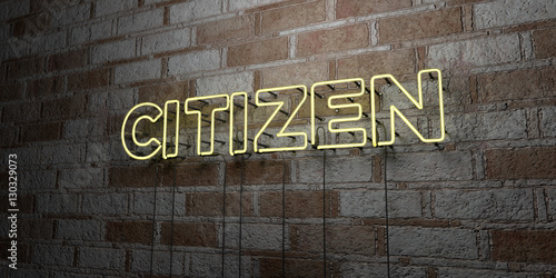 CITIZEN - Glowing Neon Sign on stonework wall - 3D rendered royalty free stock illustration Canvas Print