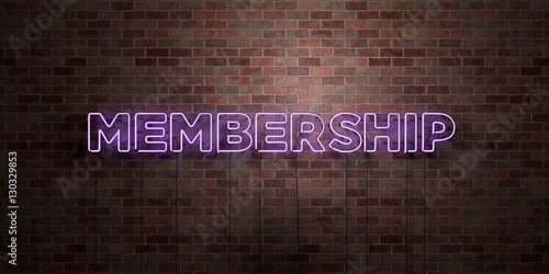 Fotografía  MEMBERSHIP - fluorescent Neon tube Sign on brickwork - Front view - 3D rendered royalty free stock picture