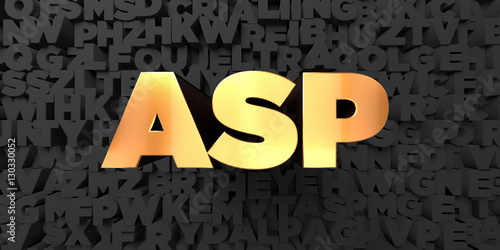 Asp - Gold text on black background - 3D rendered royalty free stock picture Canvas Print