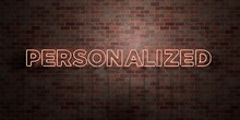 PERSONALIZED - Fluorescent Neon Tube Sign On Brickwork - Front View - 3D Rendered Royalty Free Stock Picture. Can Be Used For Online Banner Ads And Direct Mailers..