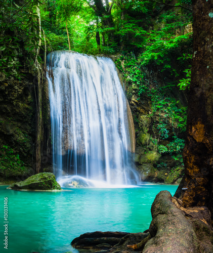 fototapeta na lodówkę Erawan waterfall, the beautiful waterfall in forest at Erawan National Park - A beautiful waterfall on the River Kwai. Kanchanaburi, Thailand