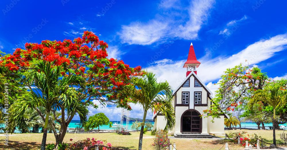 Fototapety, obrazy: Scenery of beautiful Mauritius island - Red church on the beach,Cap malheureux
