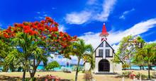 Scenery Of Beautiful Mauritius Island - Red Church On The Beach,Cap Malheureux