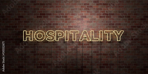 Fényképezés HOSPITALITY - fluorescent Neon tube Sign on brickwork - Front view - 3D rendered royalty free stock picture