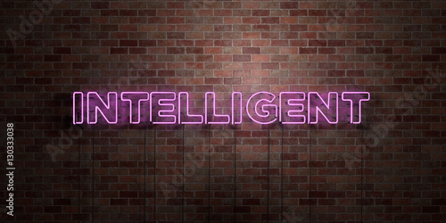 Fototapeta INTELLIGENT - fluorescent Neon tube Sign on brickwork - Front view - 3D rendered royalty free stock picture. Can be used for online banner ads and direct mailers.. obraz na płótnie