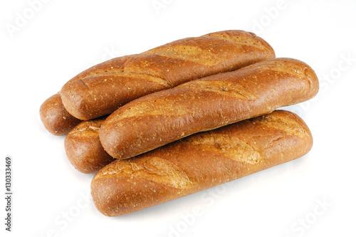 Fotografia, Obraz  fresh baked wheat hoagie bread isolated on white background