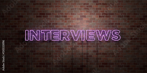 Fototapeta INTERVIEWS - fluorescent Neon tube Sign on brickwork - Front view - 3D rendered royalty free stock picture. Can be used for online banner ads and direct mailers.. obraz na płótnie