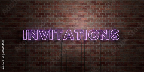 Fototapeta INVITATIONS - fluorescent Neon tube Sign on brickwork - Front view - 3D rendered royalty free stock picture. Can be used for online banner ads and direct mailers.. obraz na płótnie