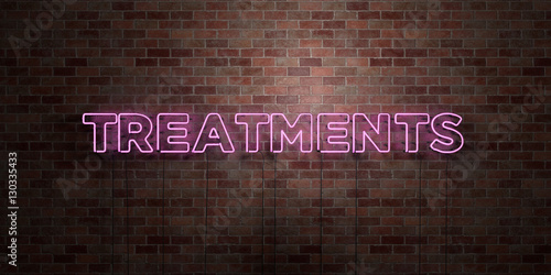 Fototapeta TREATMENTS - fluorescent Neon tube Sign on brickwork - Front view - 3D rendered royalty free stock picture. Can be used for online banner ads and direct mailers.. obraz na płótnie