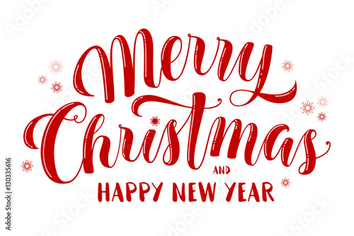 Fotomural Merry Christmas and Happy New Year text, lettering for greeting cards, banners, posters, isolated vector illustration