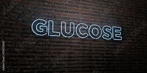 Fotografia, Obraz  GLUCOSE -Realistic Neon Sign on Brick Wall background - 3D rendered royalty free stock image