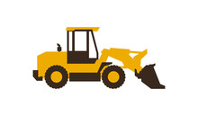Icon Front Loader. Construction Machinery. Vector Illustration. Sleek Style.