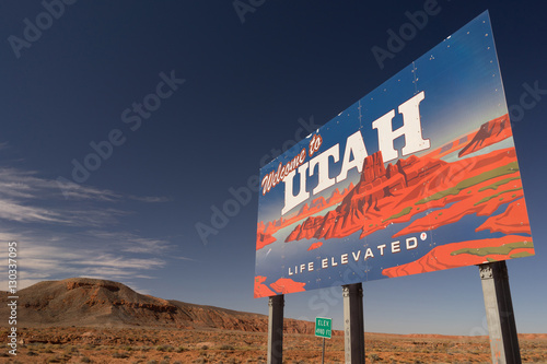 Welcome to Utah Sign Life Elevated USA Canvas Print