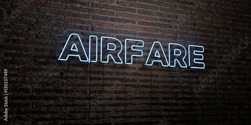 AIRFARE -Realistic Neon Sign on Brick Wall background - 3D rendered royalty free stock image Wallpaper Mural