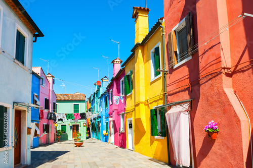 Poster Corail Colorful houses in Burano island near Venice, Italy