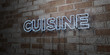 CUISINE - Glowing Neon Sign on stonework wall - 3D rendered royalty free stock illustration.  Can be used for online banner ads and direct mailers..