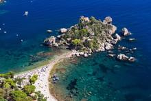 Tourists On Isola Bella Beach, Taormina, Sicily, Mediterranean