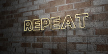 REPEAT - Glowing Neon Sign On ...