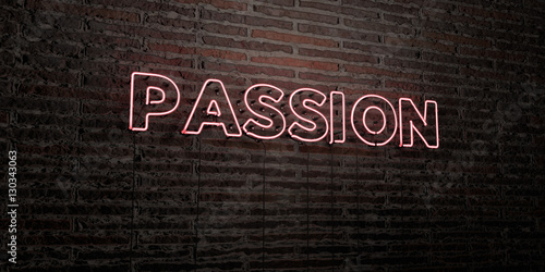 Fotografie, Obraz  PASSION -Realistic Neon Sign on Brick Wall background - 3D rendered royalty free stock image