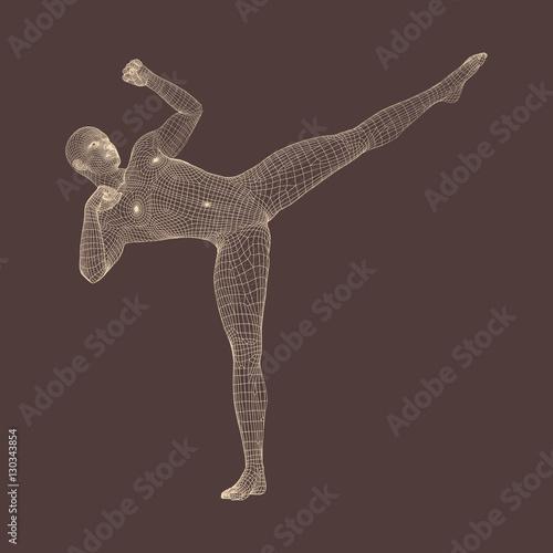 Photo  Kickbox Fighter Preparing to Execute a High Kick.