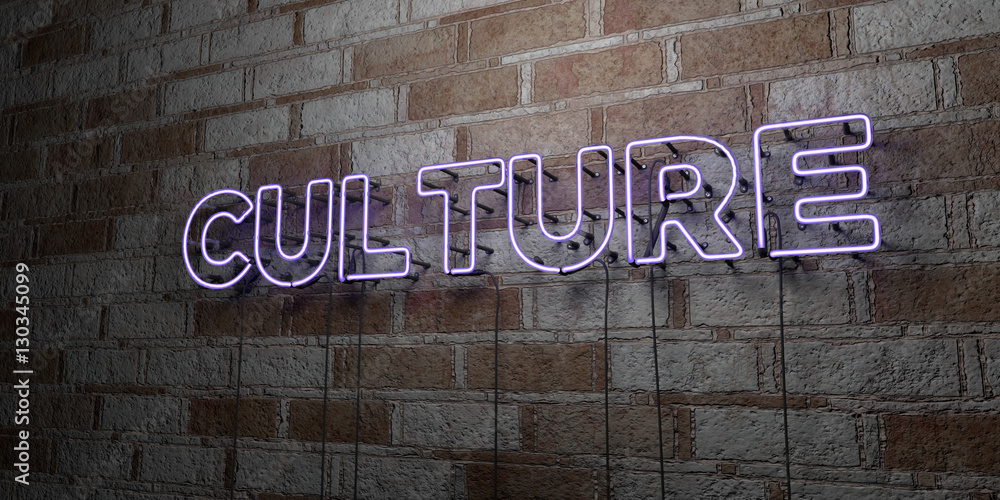 Fototapety, obrazy: CULTURE - Glowing Neon Sign on stonework wall - 3D rendered royalty free stock illustration.  Can be used for online banner ads and direct mailers..