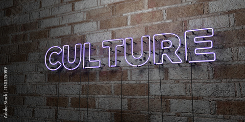 Fotografia CULTURE - Glowing Neon Sign on stonework wall - 3D rendered royalty free stock illustration