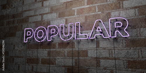 Valokuvatapetti POPULAR - Glowing Neon Sign on stonework wall - 3D rendered royalty free stock illustration