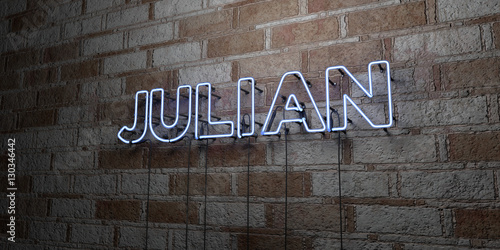 Fototapeta JULIAN - Glowing Neon Sign on stonework wall - 3D rendered royalty free stock illustration.  Can be used for online banner ads and direct mailers.. obraz