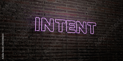 Pinturas sobre lienzo  INTENT -Realistic Neon Sign on Brick Wall background - 3D rendered royalty free stock image