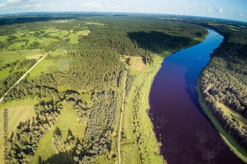 Deurstickers Aubergine River Daugava, Latvia.