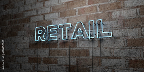 Fotografía  RETAIL - Glowing Neon Sign on stonework wall - 3D rendered royalty free stock illustration