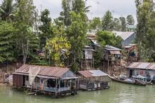 Daily Vietnamese River Life On The Tan Chau Canal, Mekong River Delta, Vietnam