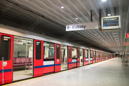 Fototapeta Warsaw, Poland. 10 December 2016. Subway at Mlociny metro station. obraz