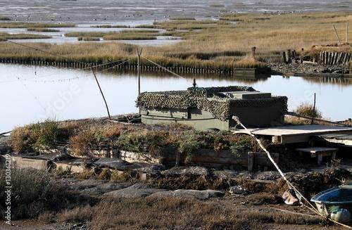 Tuinposter Jacht affût de chasse sur le bassin d'Arcachon