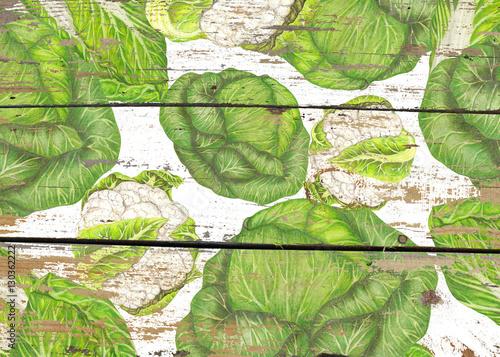 Świeża kapusta na drewnianej teksturze