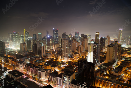 Makati city skyline nightview , Manila , Philippines
