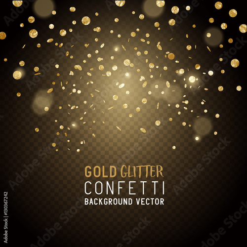 Fotografie, Obraz  Luxury Celebrations background with falling pieces of metallic gold glitter and confetti, vector illustration