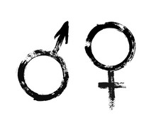Male Female Symbols Grunge Pai...