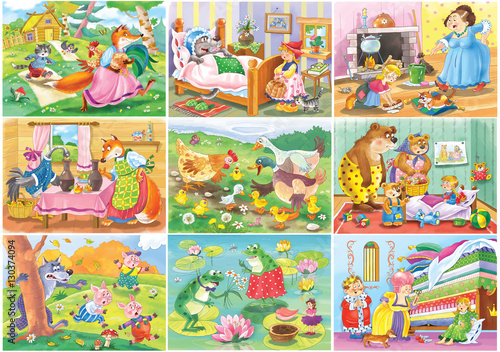 Set of fairy tale illustrations.